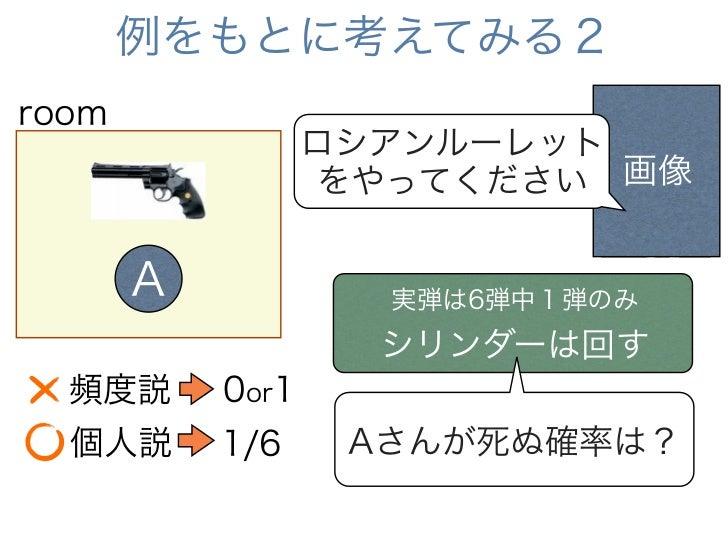 例をもとに考えてみる2room                  ロシアンルーレット                   をやってください 画像       A            実弾は6弾中1弾のみ                    ...
