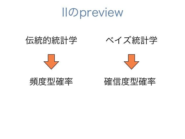 IIのpreview伝統的統計学     ベイズ統計学頻度型確率     確信度型確率