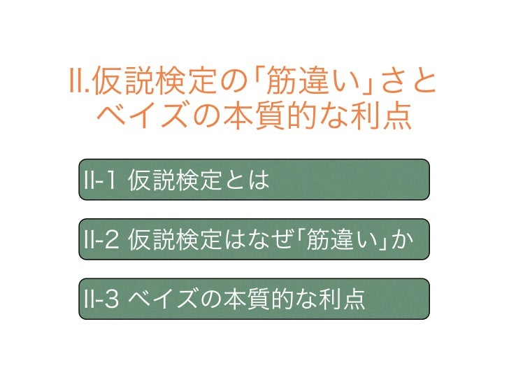 II.仮説検定の「筋違い」さと   ベイズの本質的な利点II-1 仮説検定とはII-2 仮説検定はなぜ「筋違い」かII-3 ベイズの本質的な利点