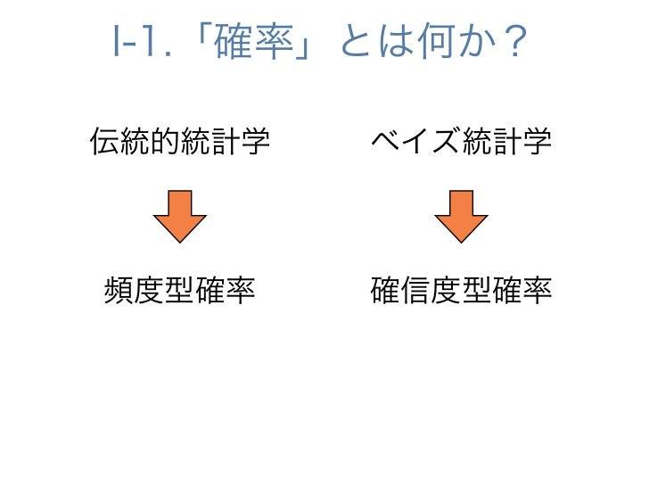 I-1.「確率」とは何か?伝統的統計学   ベイズ統計学頻度型確率    確信度型確率