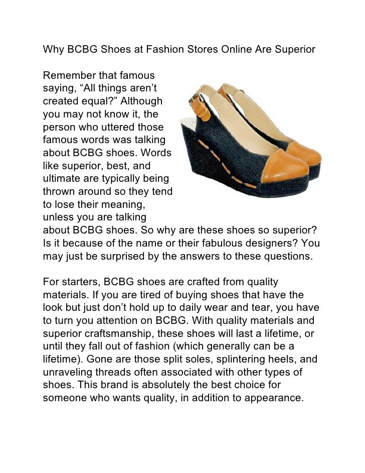 """Why BCBG Shoes at Fashion Stores Online Are SuperiorRemember that famoussaying, """"All things aren'tcreated equal?"""" Although..."""