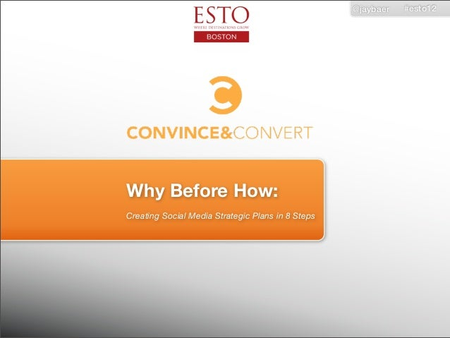@jaybaer   #esto12Why Before How:Creating Social Media Strategic Plans in 8 Steps