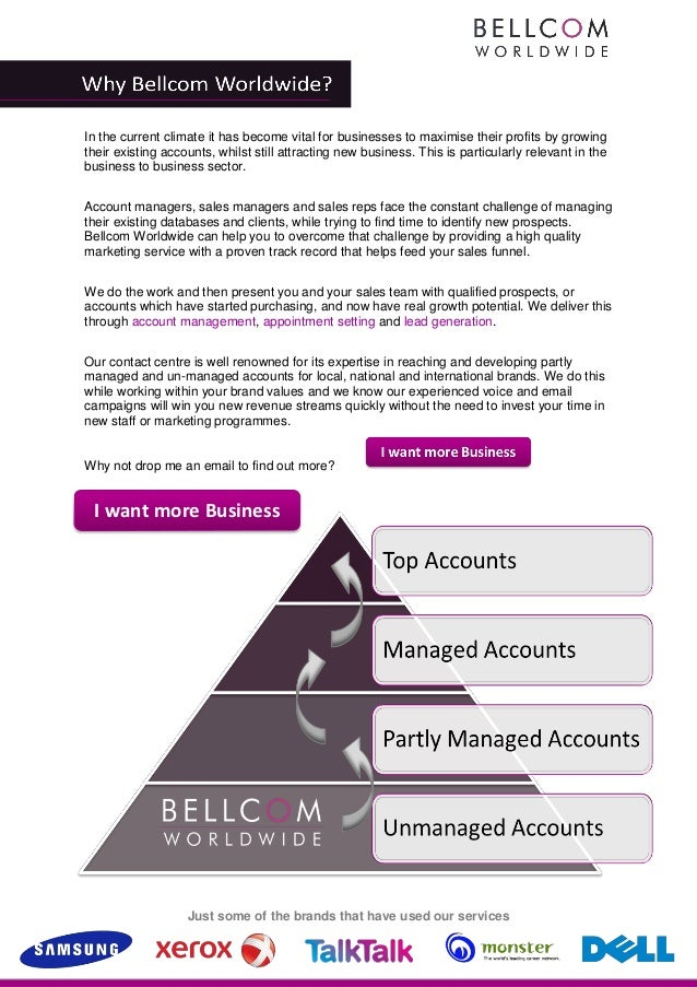 In the current climate it has become vital for businesses to maximise their profits by growingtheir existing accounts, whi...