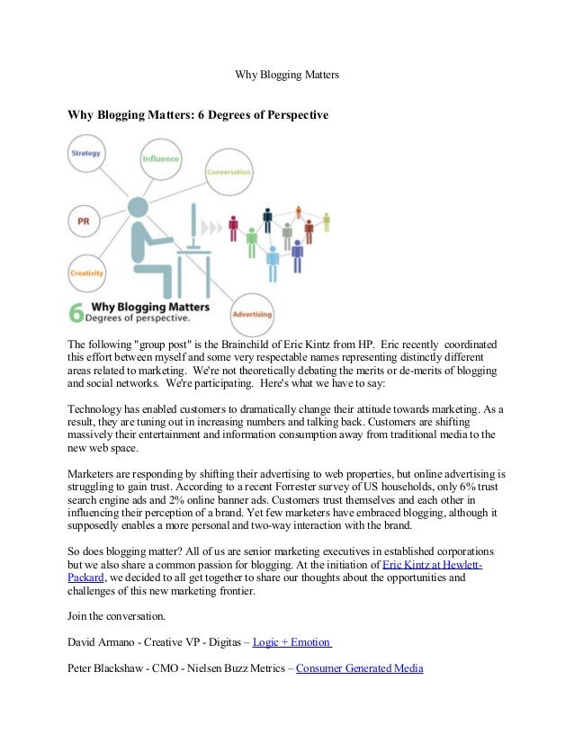 """Why Blogging Matters Why Blogging Matters: 6 Degrees of Perspective The following """"group post"""" is the Brainchild of Eric K..."""
