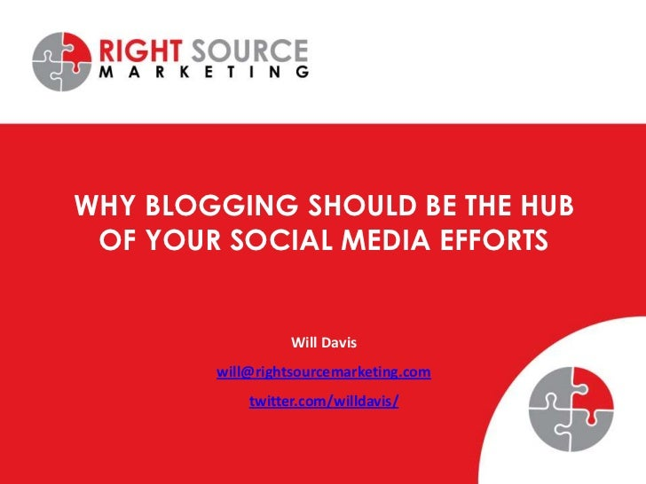 WHY BLOGGING SHOULD BE THE HUB OF YOUR SOCIAL MEDIA EFFORTS                  Will Davis        will@rightsourcemarketing.c...
