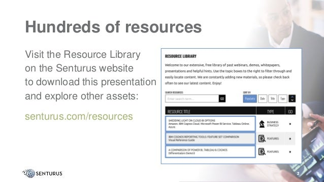 2 Hundreds of resources Visit the Resource Library on the Senturus website to download this presentation and explore other...