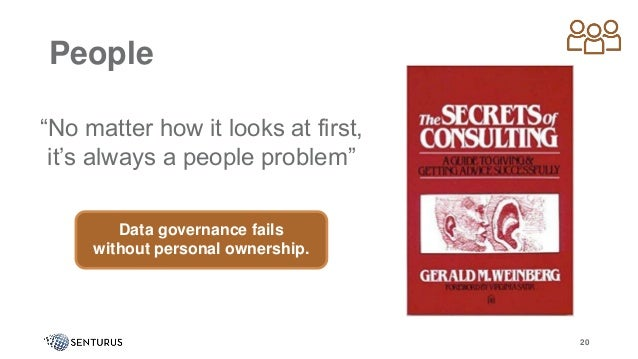 """People """"No matter how it looks at first, it's always a people problem"""" 20 Data governance fails without personal ownership."""