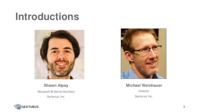3 Introductions Shawn Alpay Microsoft BI Senior Architect Senturus, Inc. Michael Weinhauer Director Senturus, Inc. 3