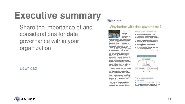 34 Executive summary It of having some degree of data governance to support their business analytics. Despite its importan...