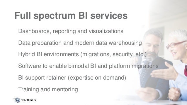 Full spectrum BI services •Dashboards, reporting and visualizations •Data preparation and modern data warehousing •Hybrid ...