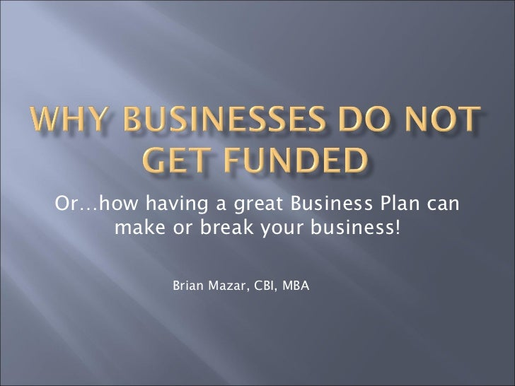 Why businesses do not get funded