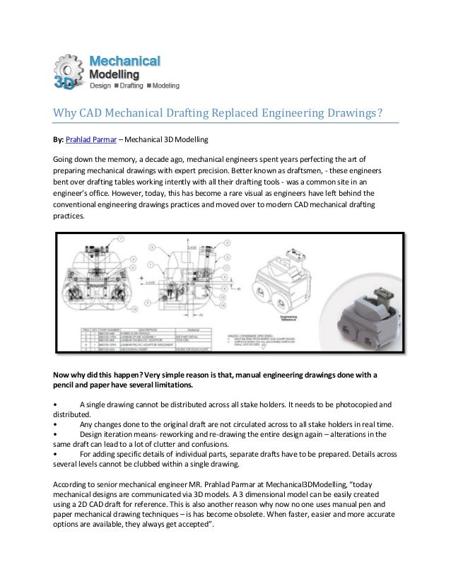why cad mechanical drafting replaced engineering drawings
