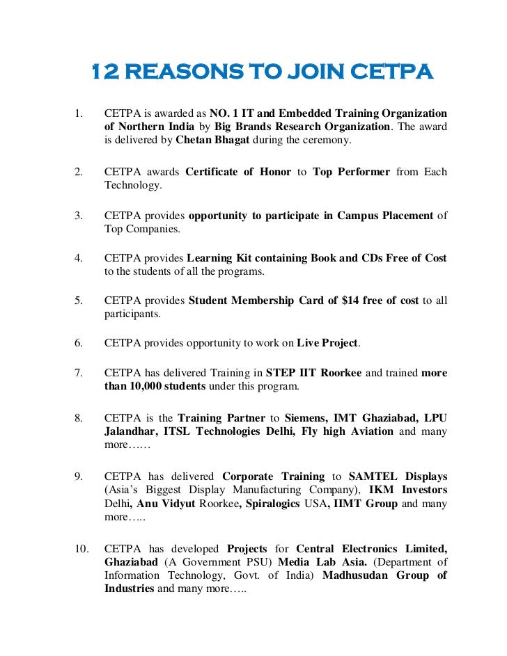 12 REASONS TO JOIN CETPA    1.    CETPA is awarded as NO. 1 IT and Embedded Training Organization          of Northern In...
