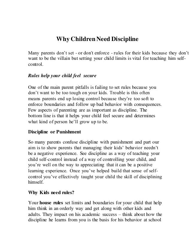 disciplining a child essay Discipline on children essaysbeing parents is one of the most difficult tasks children are not born with a.