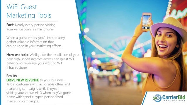 WiFi Guest Marketing Tools Fact: Nearly every person visiting your venue owns a smartphone. When a guest enters, you'll im...