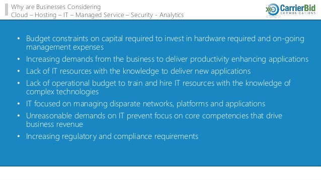 Why are Businesses Considering Cloud – Hosting – IT – Managed Service – Security - Analytics • Budget constraints on capit...