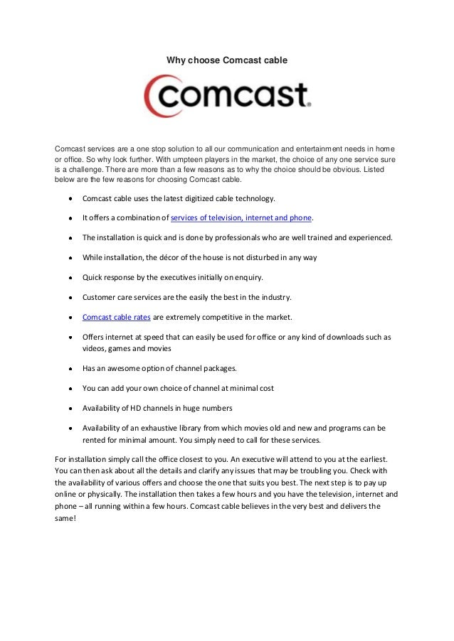 Why choose comcast cable