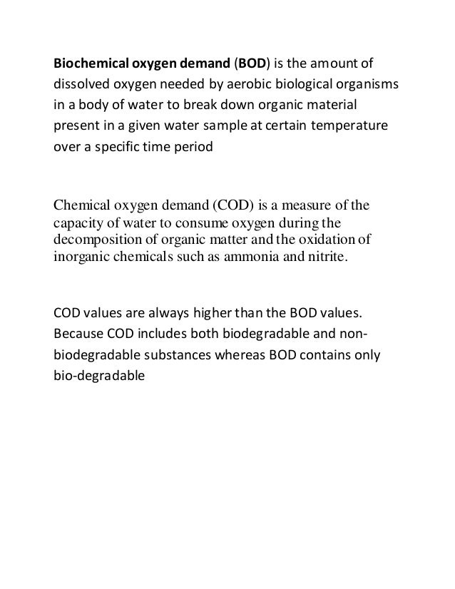bod and oxygen equivalent relationship