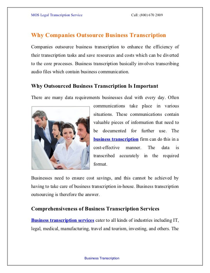 MOS Legal Transcription Service                              Call: (800) 670 2809Why Companies Outsource Business Transcri...