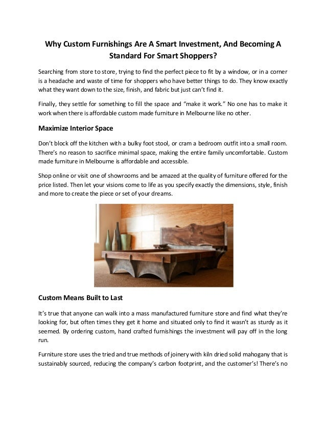 Why Custom Furnishings Are A Smart Investment, And Becoming A Standard For  Smart Shoppers? ...
