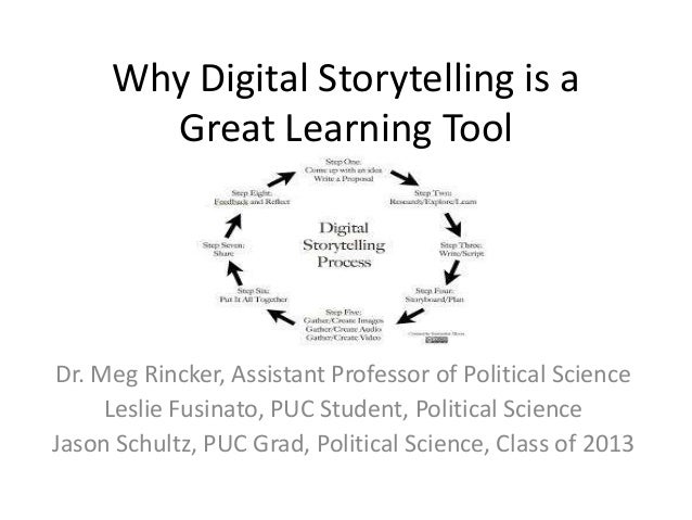 Why Digital Storytelling is a Great Learning Tool  Dr. Meg Rincker, Assistant Professor of Political Science Leslie Fusina...