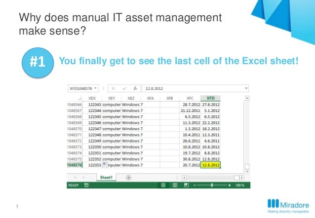 1 Why does manual IT asset management make sense? #1 You finally get to see the last cell of the Excel sheet!