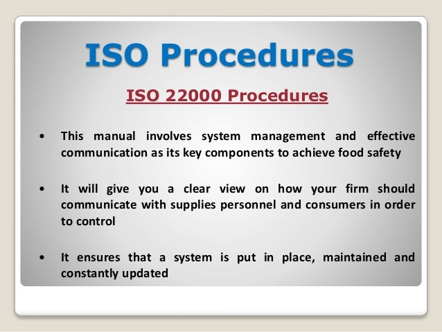 ISO Procedures ISO 22000 Procedures; 14.  It Manual Template