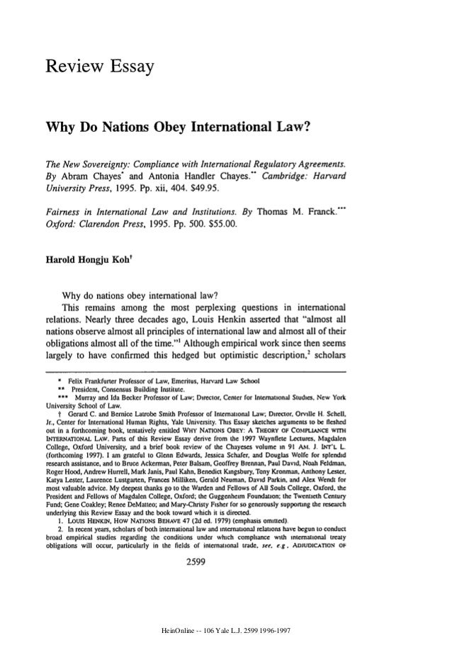 why do nations obey international law  2 review essay why do nations obey international law