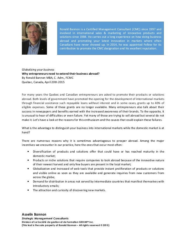 Asselin Bannon Strategic Management Consultants Division of La Société de gestion et de formation GEXIMTM Inc. (This text ...