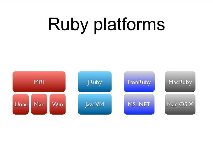 Ruby platforms       MRI         JRuby     IronRuby   MacRubyUnix   Mac   Win   Java VM   MS .NET    Mac OS X