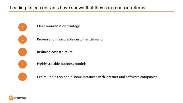 Leading fintech entrants have shown that they can produce returns 1 2 3 4 Clear monetization strategy Proven and measurabl...