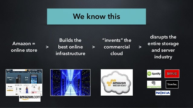 """Amazon = online store Builds the best online infrastructure """"invents"""" the commercial cloud disrupts the entire storage and..."""