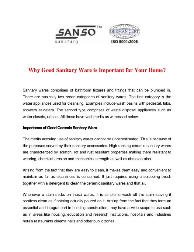 Why Good Sanitary Ware is Important for Your Home  Sanitary wares comprises  of bathroom fixtures. Why Good Sanitary Ware is Important for Your Home    www ashirwadcera
