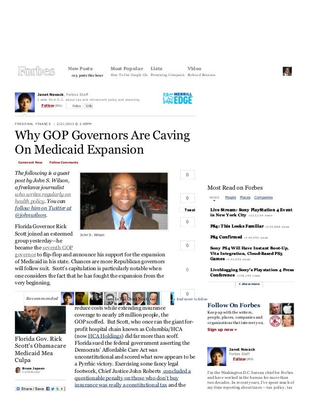 2/21/13                                                          Why GOP Governors Are Caving On Medicaid Expansion - Forb...