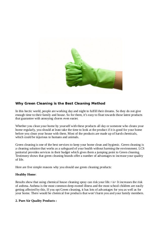 Why green cleaning is the best cleaning method