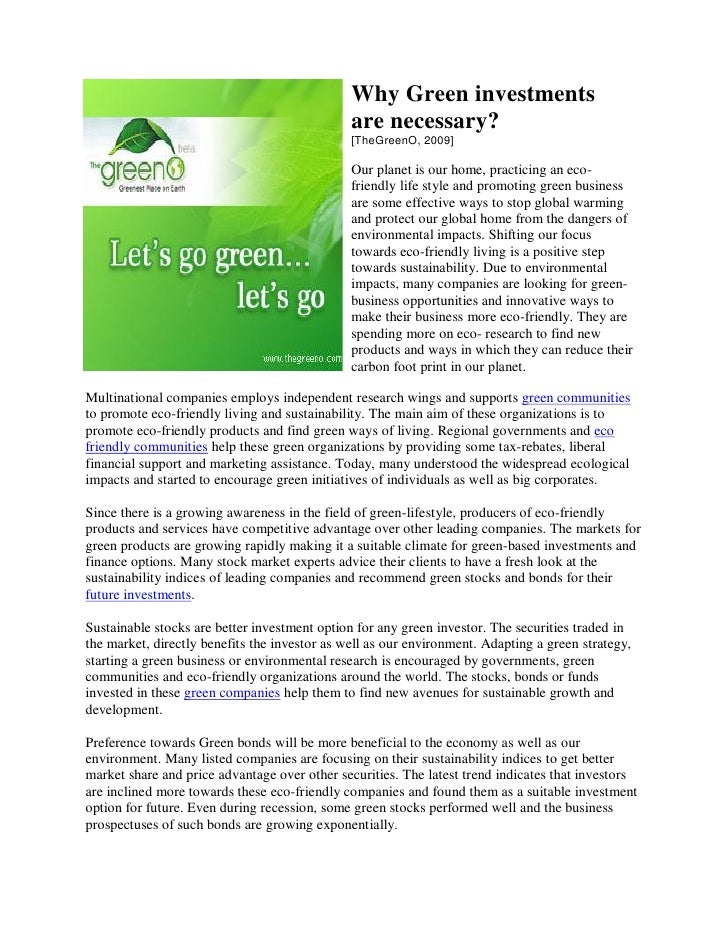 Why Green investments                                                are necessary?                                       ...