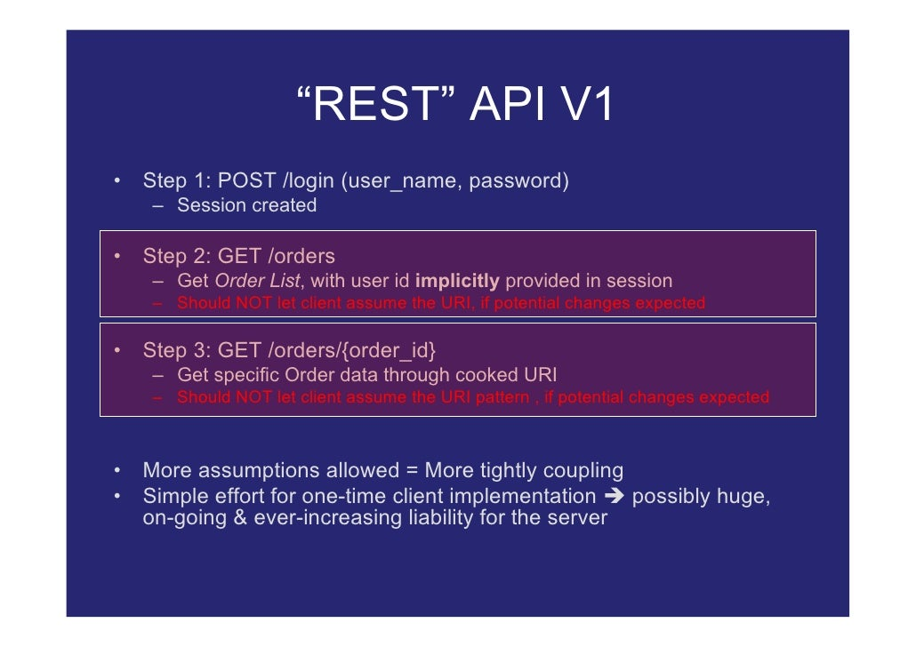 """REST"" API V1 •   Step 1: POST /login (user_name, password)      – Session created  •   Step 2: GET /orders      – Get Ord..."
