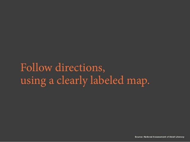 Follow directions, using a clearly labeled map.  Source: National Assessment of Adult Literacy