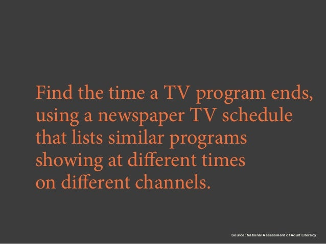 Find the time a TV program ends, using a newspaper TV schedule that lists similar programs showing at different times on di...