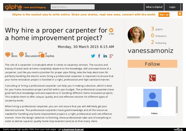 3 gliphs 0 followers 2 following vanessamoniz Follow Follow The role of a carpenter is invaluable when it comes to carpent...