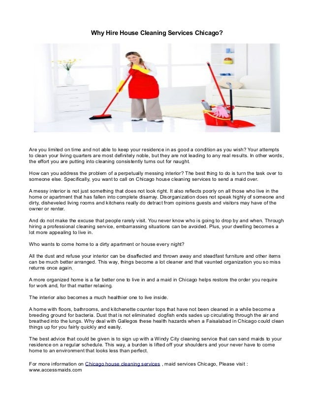 Why Hire House Cleaning Services Chicago?