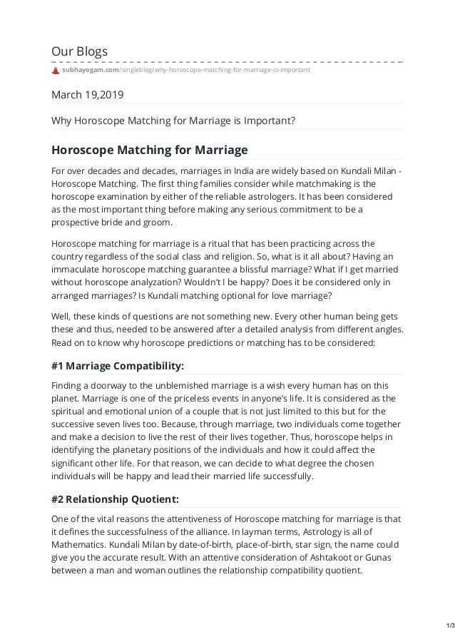 Why horoscope matching for marriage is important