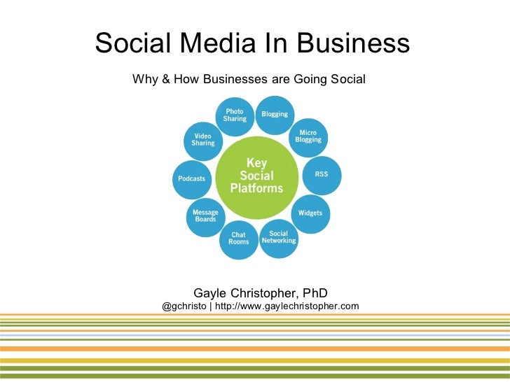Social Media In Business  Why & How Businesses are Going Social            Gayle Christopher, PhD      @gchristo | http://...