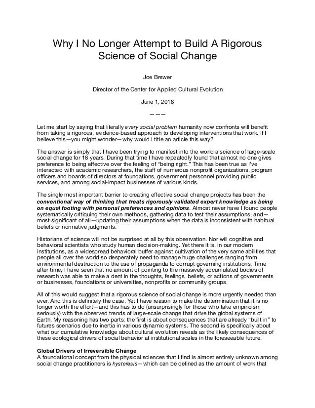 Why I No Longer Attempt to Build A Rigorous Science of Social Change  Joe Brewer  Director of the Center for Applied Cultu...