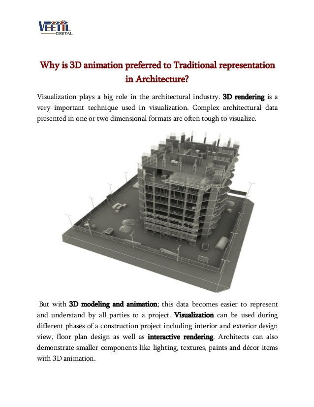 Why is 3D animation preferred to Traditional representation in Architecture? Visualization plays a big role in the archite...