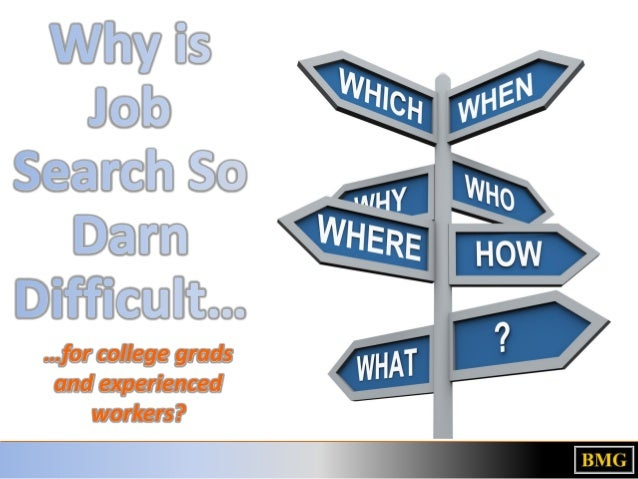 Why is Job Search So Darn Difficult… …for college grads and experienced workers?