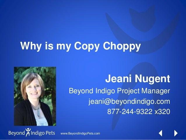www.BeyondIndigoPets.com Why is my Copy Choppy Jeani Nugent Beyond Indigo Project Manager jeani@beyondindigo.com 877-244-9...