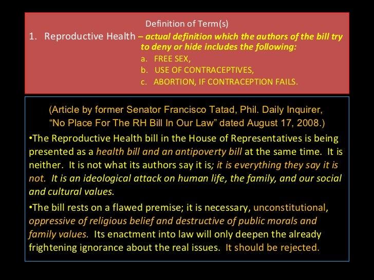 sanaysay sa reproductive health bill