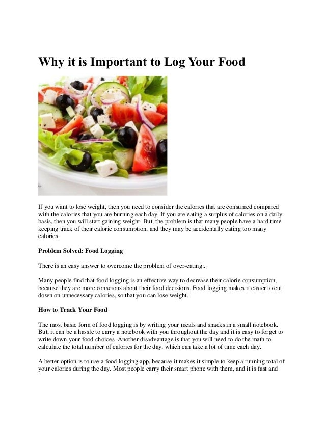 why it is important to log your food