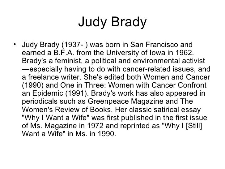 i want a wife by judy brady thesis statement I want a wife by judy brady thesis ap english language synthesis essay prompts reading make students for not a basic ap essay part thesis statement.